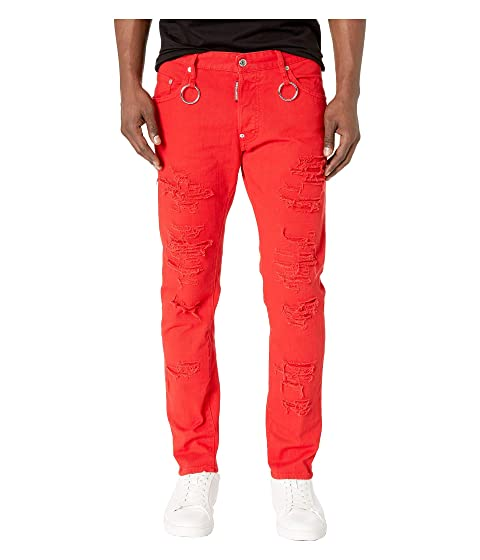 DSQUARED2 Rip Wash Skater Jeans in Red