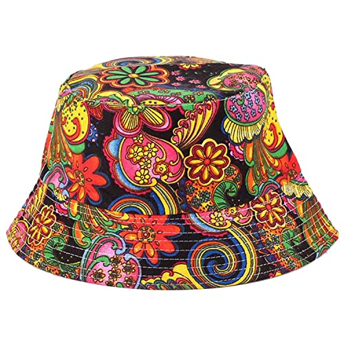 109f0e57a87 Anjoy Fashionable Unisex Satin Lined Printed Pattern Cotton Bucket Hat