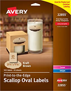 "Avery Scallop Oval Labels for Laser & Inkjet Printers, 2-1/4"" x 1-1/8"", 525 Kraft Brown Labels (22855)"