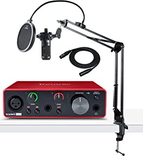 Focusrite Scarlett Solo 3rd Gen USB Audio Interface Bundle with AT2035 Microphone, Knox Studio Stand, Pop Filter and XLR Cable (5 Items)