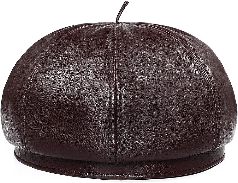 ASO-SLING Women PU Leather French Beret Hat Adjustable Solid Color Artist Cap Black Visor Hat 8 Panels Painter Cap