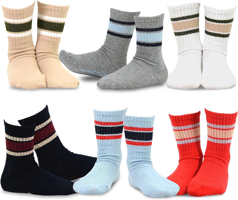 TeeHee Little Boys Basic Cotton Crew Socks 6 Pair Pack (3-5 Years, Sport Rib Stripe)