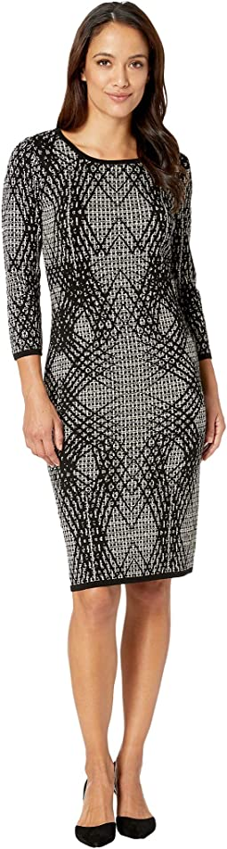 Geo Print Midi Sweater Dress