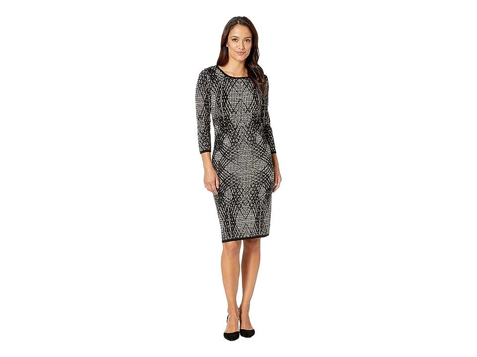 Taylor Geo Print Midi Sweater Dress (Black/Champagne) Women
