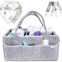 Putska Baby Diaper Caddy Organizer: Portable Holder Bag for Changing Table and Car, Nursery Essentials Storage bins gifts with 2 Pacifier Clips, 2 Bibs
