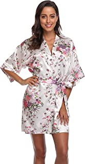 Floral Satin Kimono Robes Short Bridesmaid Robe for Parties Wedding Robes