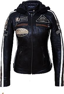 Chaqueta Moto Mujer de Cuero Urban Leather '58 LADIES' | Chaqueta Cuero Mujer | Cazadora Moto de Piel de Cordero | Armadur...
