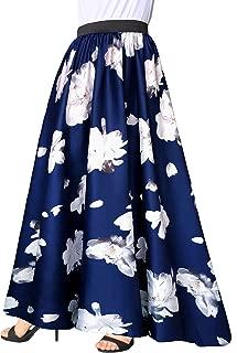Women Chiffon Mopping Floor Length Big Hem Solid Beach High Waist Maxi Skirt