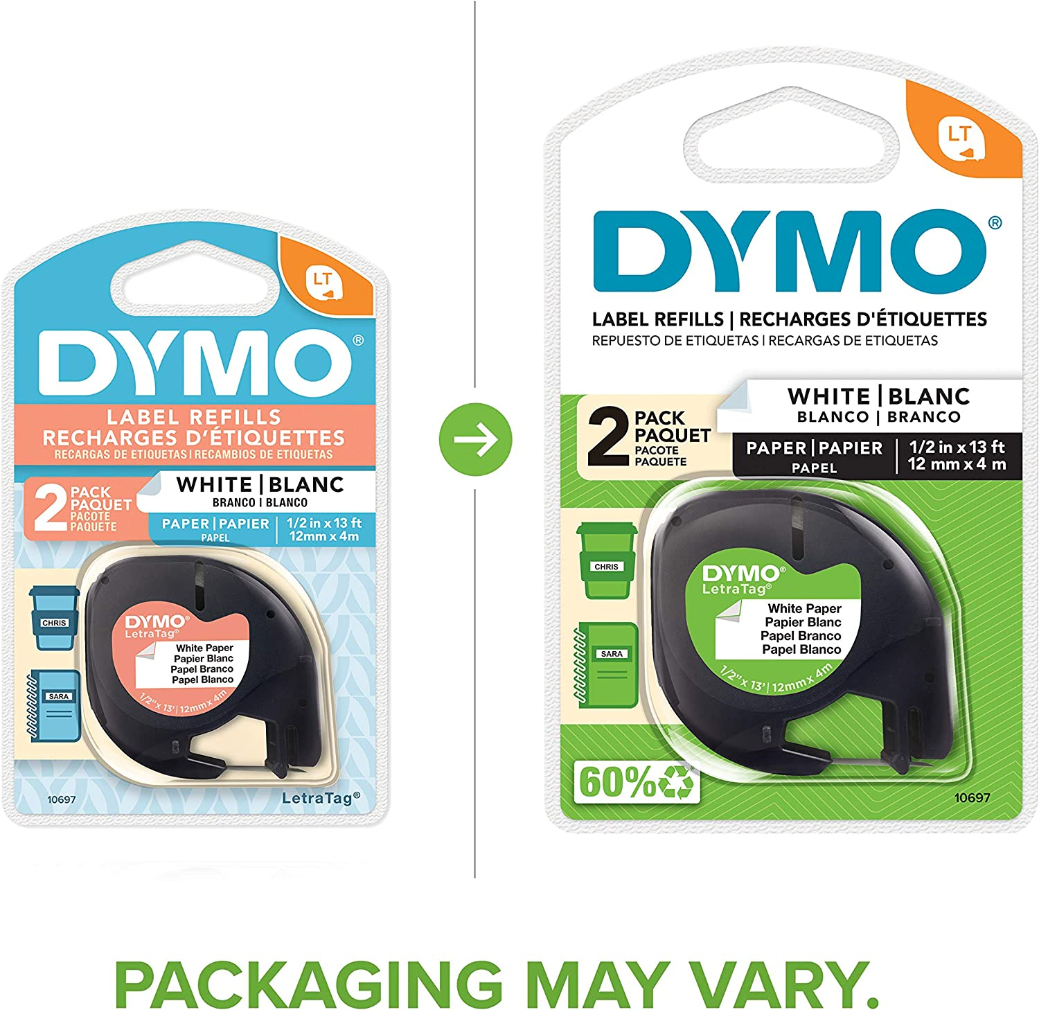 1//2 Inch 12mm Authentic Paper Labeling Tape for LetraTag Label Makers Black Print On White Tape 6-Pack
