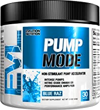 Evlution Nutrition Pump Mode Nitric Oxide Booster to Support Intense Pumps, Performance and Vascularity (Blue Raz, 30 Servings)
