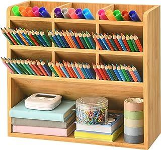 Marbrasse Bamboo Art Supply Desk Organizer, Pen Holder with 9 Compartments, Pen Organizer for Desk, Office Supplies Deskto...