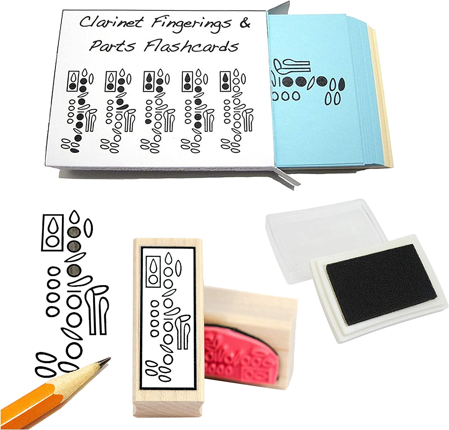 Clarinet Student Gift Industry No. 1 Max 44% OFF Pack Fingering Stamp Flashcards Rubber