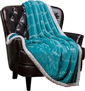Chanasya Warm Hugs Positive Energy Healing Thoughts Caring Gift Throw Blanket - Sherpa Microfiber Comfort Gift Throw - Get Well Soon Gift for Women Men Cancer Patient - Teal Blanket
