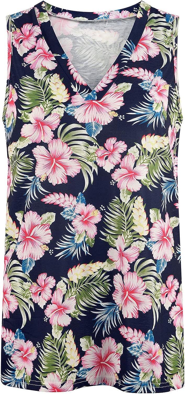 FABIURT Summer Tops for Women, Womens Fashion Stripe V Neck Tank Top Sleeveless Vest T Shirts Casual Loose Tunic Blouses…