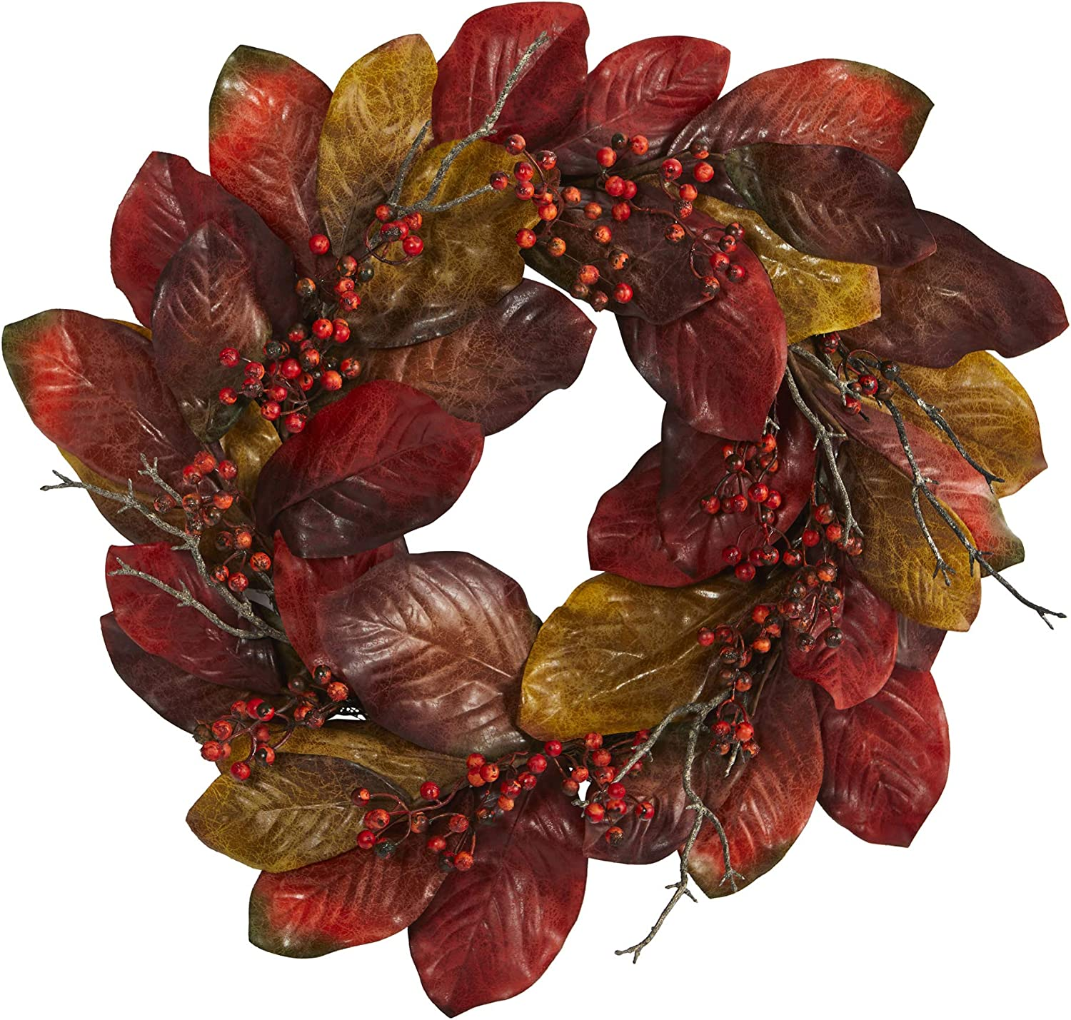 24in. Harvest 1 year warranty Magnolia shipfree Leaf Berries Artificial and Wreath