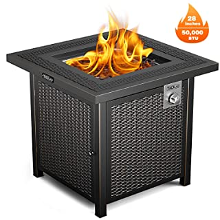 TACKLIFE Propane Fire Pit Table, Outdoor Companion, 28 Inch 50,000 BTU Auto-Ignition Gas Fire Pit Table with Cover, CSA Certification and Strong Striped Steel Surface,