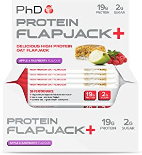 PhD Nutrition 75g Apple and Raspberry Protein Flapjack+ Box Bars - Pack of 12