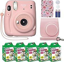 Fujifilm Instax Mini 11 Instant Camera Blush Pink + Custom Case + Fuji Instax Film Value Pack (50 Sheets) Flamingo Designe...