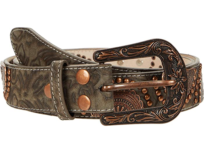 M&F Western 1.5inch Floral Embossed Concho Stud Belt