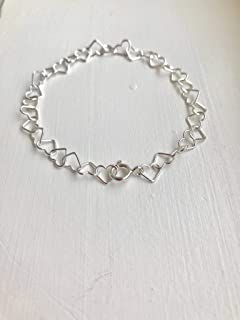 Kyperco Sterling Silver Handmade Bracelet With Each Link Is A Simple Heart Shape And Together Makes A Delicate Strand Of H...