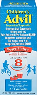Children's Advil Suspension (4 fl. oz, Fruit-Flavored), 100mg Ibuprofen Fever Reducer/Pain Reliever, Liquid Pain Medicine, Ages 2 – 11