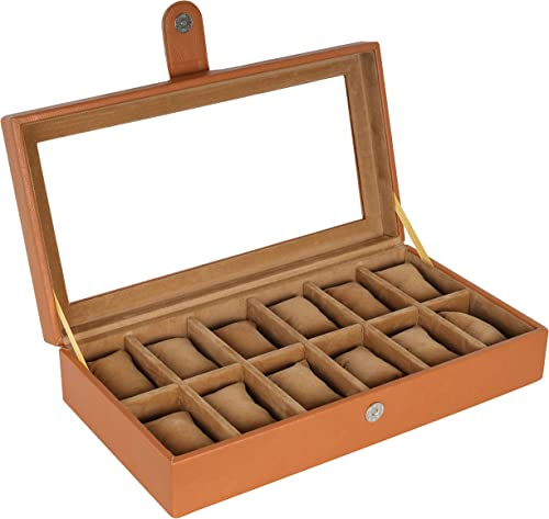 Leather World 12 Slots PU Leather Men Watch Box Acrylic Display Organizer Case Women Storage Jewellery - Tan