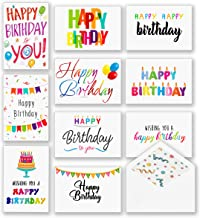 100 Happy Birthday Cards, Large Assorted Greeting Notes with Envelopes and Stickers, 10 Unique Designs, 5x7 Inch, Thick Card Stock Bulk Box Set