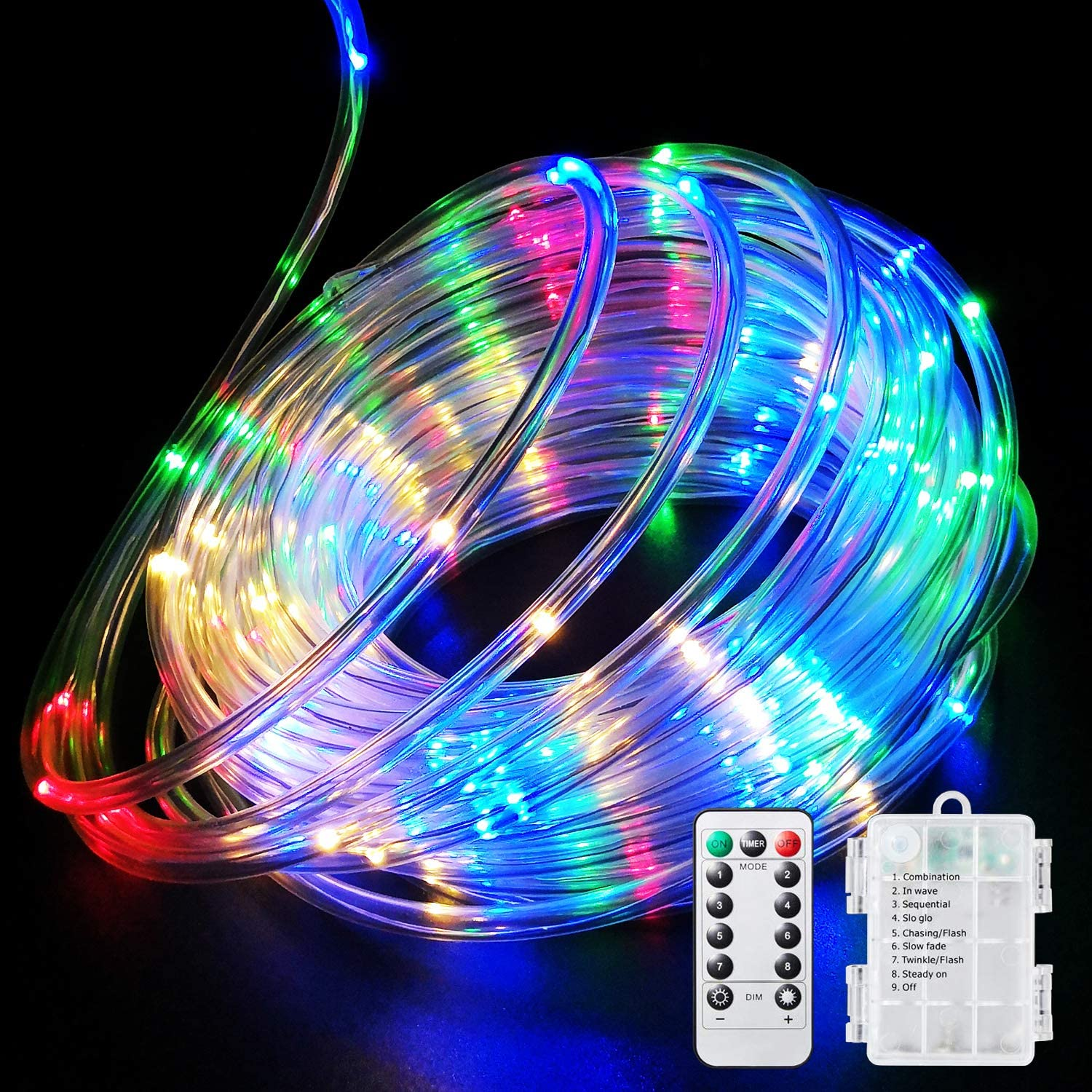 Fitybow 66Ft 200 LEDs Fairy String Lights Battery Operated Outdoor Waterproof 8 Modes Dimmable Remote Control Christmas Decor Lights Copper Wire Firefly Lights for Bedroom Party Patio Wedding