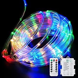 Fitybow LED Rope Lights Battery Operated String Lights 40FT 120 LEDs 8 Modes Fairy Lights with Remote Timer Outdoor Decora...