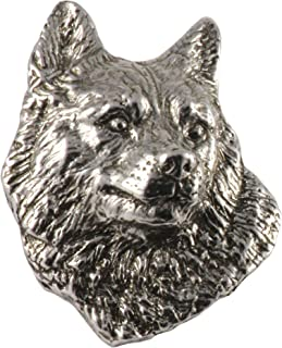D398F Husky Dog Pewter Lapel Pin Brooch Jewelry