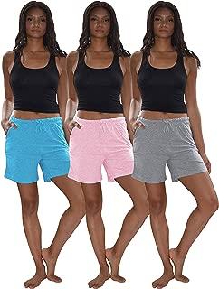 Women's 3 Pack Cotton Sleep Pajama Shorts with Pockets & Drawstring