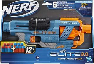 Nerf Elite 2.0 Commander RD-6-blaster, 12 officiële Nerf-darts, draaiende trommel voor 6 darts, tactische rails, bevestigi...