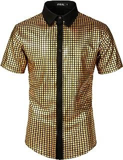 Men's Dress Shirt Sequins Button Down Shirts 70s Disco Party Costume