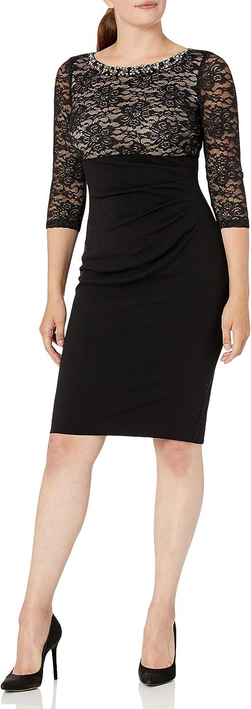 Jessica Howard Women's Beaded Neck Empire Waist Side Tucked Sheath Dress