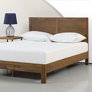 Zinus 12 Inch Acacia Wood Platform Bed with Headboard / No Boxspring Needed / Wood slat, Queen