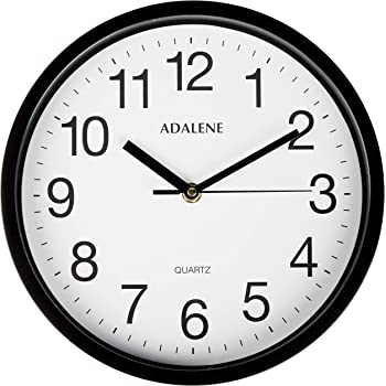 Amazon Com Hippih Black Wall Clock Silent Non Ticking Quality Quartz 10 Inch Round Easy To Read For Home Office School Clock Red Second Hand Home Kitchen