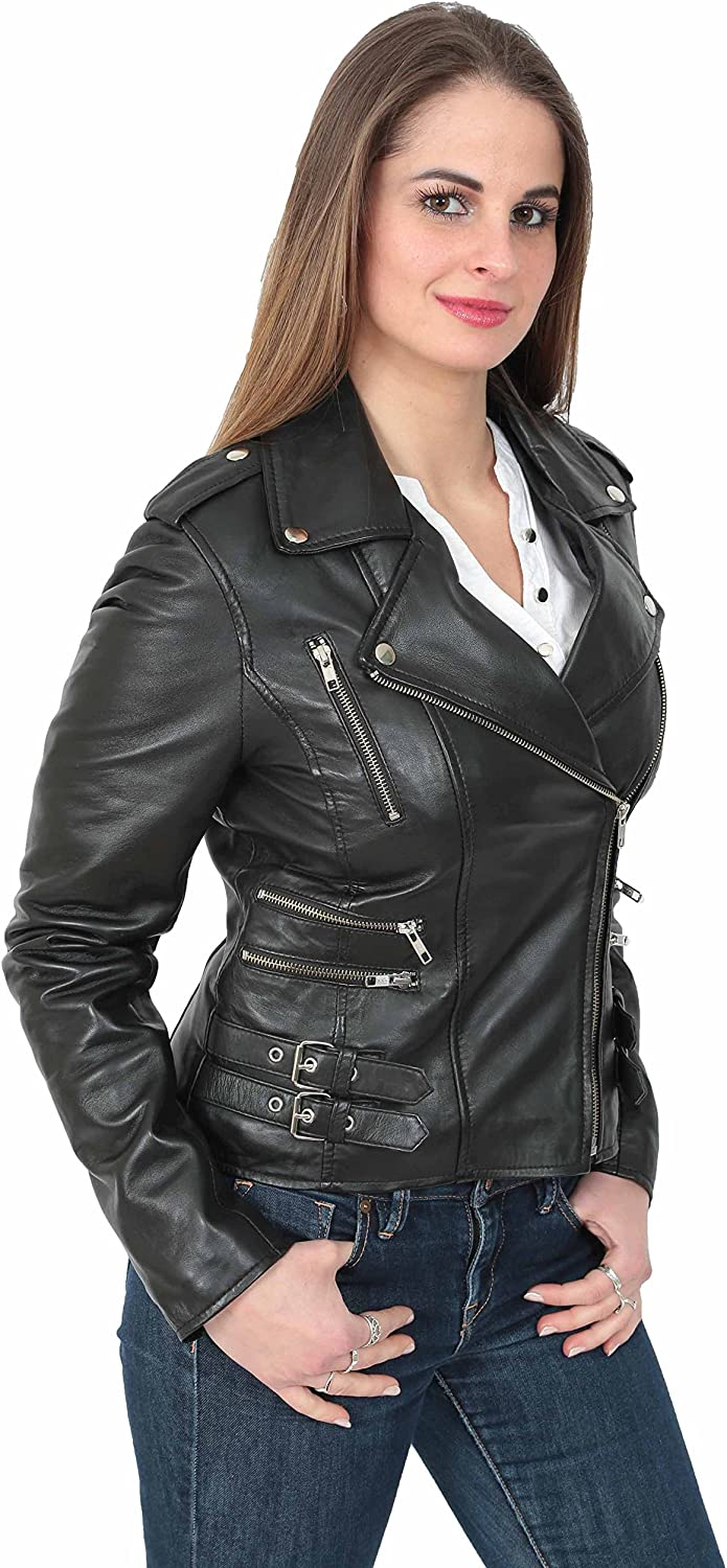A1 FASHION GOODS Womens Biker Leather Jacket Girls Trendy Fitted Coat in a Ruby