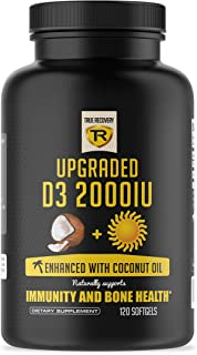Vitamin D3 2000iu - Enhanced with Organic Coconut Oil for Better Absorption - Natural, Vegetarian and Non-GMO (120 Mini Liquid Softgels)