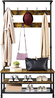 YAHEETECH Coat Rack 3-in-1 Hall Tree with Shoe Storage Bench and 2-Tier-Shelf and 23 Hooks,72'' Large Size Wood Look
