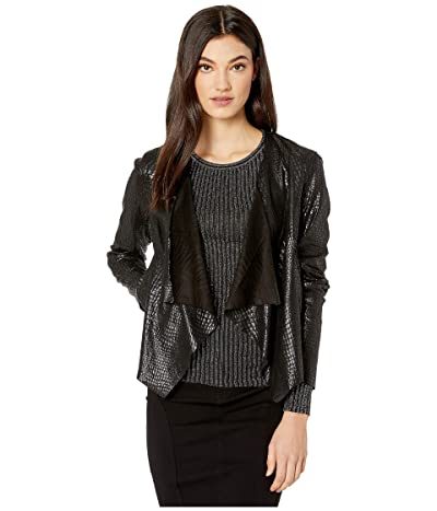 Blank NYC Faux Crocodile Drape Front Jacket in Irongirl (Black) Women