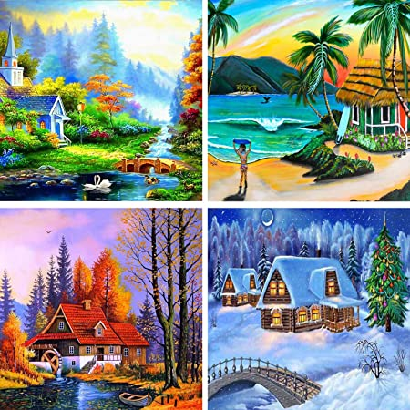 Yomiie 4 Pack 5D Diamond Painting Country Cottage Full Drill by Number Kits Village Landscape Paint with Diamonds Art Country Scenes Crystal Rhinestone Craft Decor 30x40cm 12x16inch
