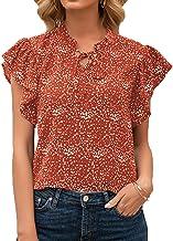 XYJD Lente en zomer dames casual pullover losse V-hals stippenprint met korte mouwen lotusmouwen T-shirt voor dames