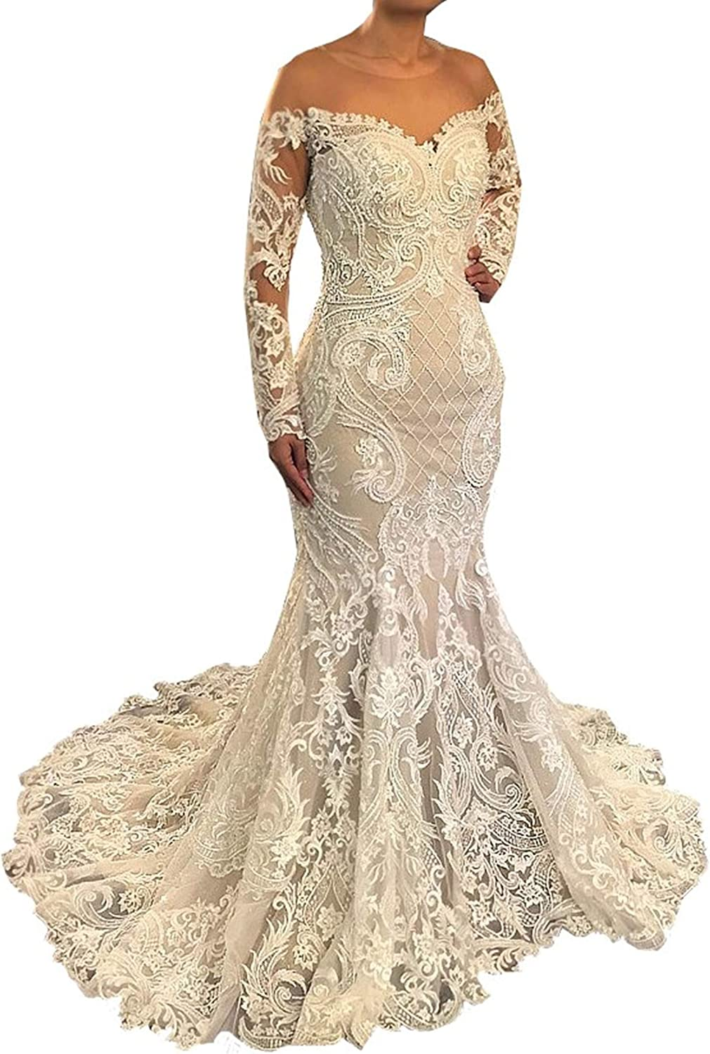 iluckin Women's Plus Size Bridal Prom Ball Gown Mermaid Wedding Dresses with Train for Bride 2020 Lace Long Sleeves