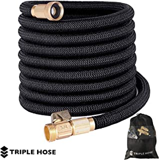 Heavy Duty Expandable Garden Hose | Strongest Expanding Triple Layer Latex Core | Durable Nylon Fabric | Solid Brass Fittings | Shut Off Water Valve | Gift/Storage Bag (50, Black)
