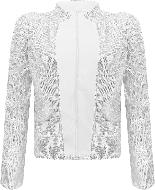 Yanarno Women's Sequins Jacket Shiny Glitter Blazer Long Sleeve Open Front Bolero Shrug Cardigan