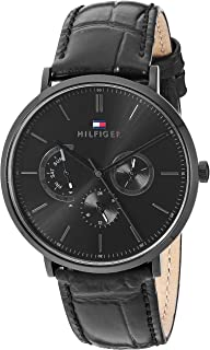 Tommy Hilfiger Men's Stainless Steel Quartz Watch with Leather Calfskin Strap, Black, 1710378