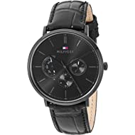 Men's Stainless Steel Quartz Watch with Leather Calfskin Strap, Black, 1710378