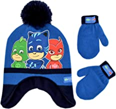 PJ Masks Boys' Toddler Assorted Characters Hat and Mittens Cold Weather Set, blue/black, Age 2-4