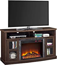 Ameriwood Home Barrow Creek Fireplace Console with Glass Doors for TVs up to 60