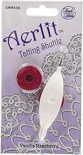 Handy Hands Aerlit Tatting Shuttle with 2 bobbins SHH436 Vanilla Raspberry